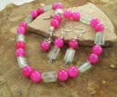 Handmade Kiwi Quartz and Fuchsia Dragon's Vein Agate Necklace | Earring Set