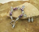 Handmade Flower Glass Bead Sterling Silver Bracelet | Earring Set