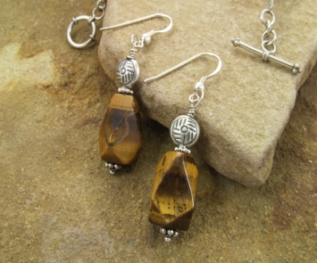 Handmade-Tiger's-Eye-Sterling-Silver-Earrings
