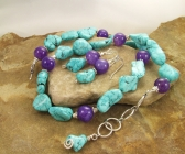 Handmade Blue Turquoise and Purple Dragon's Vein Agate Necklace | Earring Set