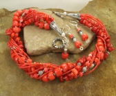 Handmade Red Coral and Czech Glass Bead Necklace | Earring Set