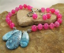 Handmade Blue Crazy Lace and Fuchsia Dragons Vein Agate Necklace | Earring Set