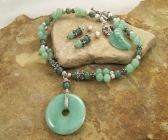 Handmade Green Aventurine and Sterling Silver Necklace | Earring Set