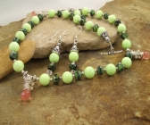 Handmade Green Turquoise, Green Tiger's Eye, Cherry Quartz Necklace | Earring Set