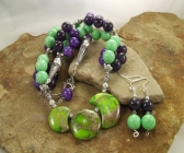 Handmade Green Turquoise, Amethyst, Purple Dragon's Vein Agate Necklace | Earring Set