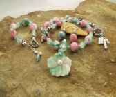 Handmade Candy Jade, Amazonite, Green Fluorite Necklace, Bracelet, Pendant | Earring Set