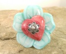 Handmade Mother of Pearl and Rhodochrosite Sterling Silver Ring