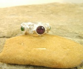 Handmade Fine Silver Rhodolite Garnet and Chrome Diopside Ring
