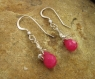 Handmade Fuchsia Jade Earrings