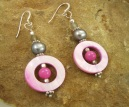 Handmade Pink Mother of Pearl and Labradorite Earrings